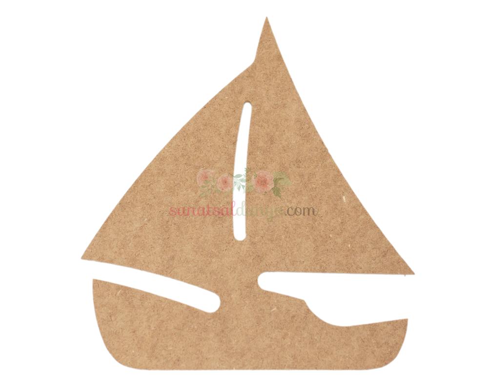 Ahşap Yelkenli Figürü (MDF Obje)(24x22)