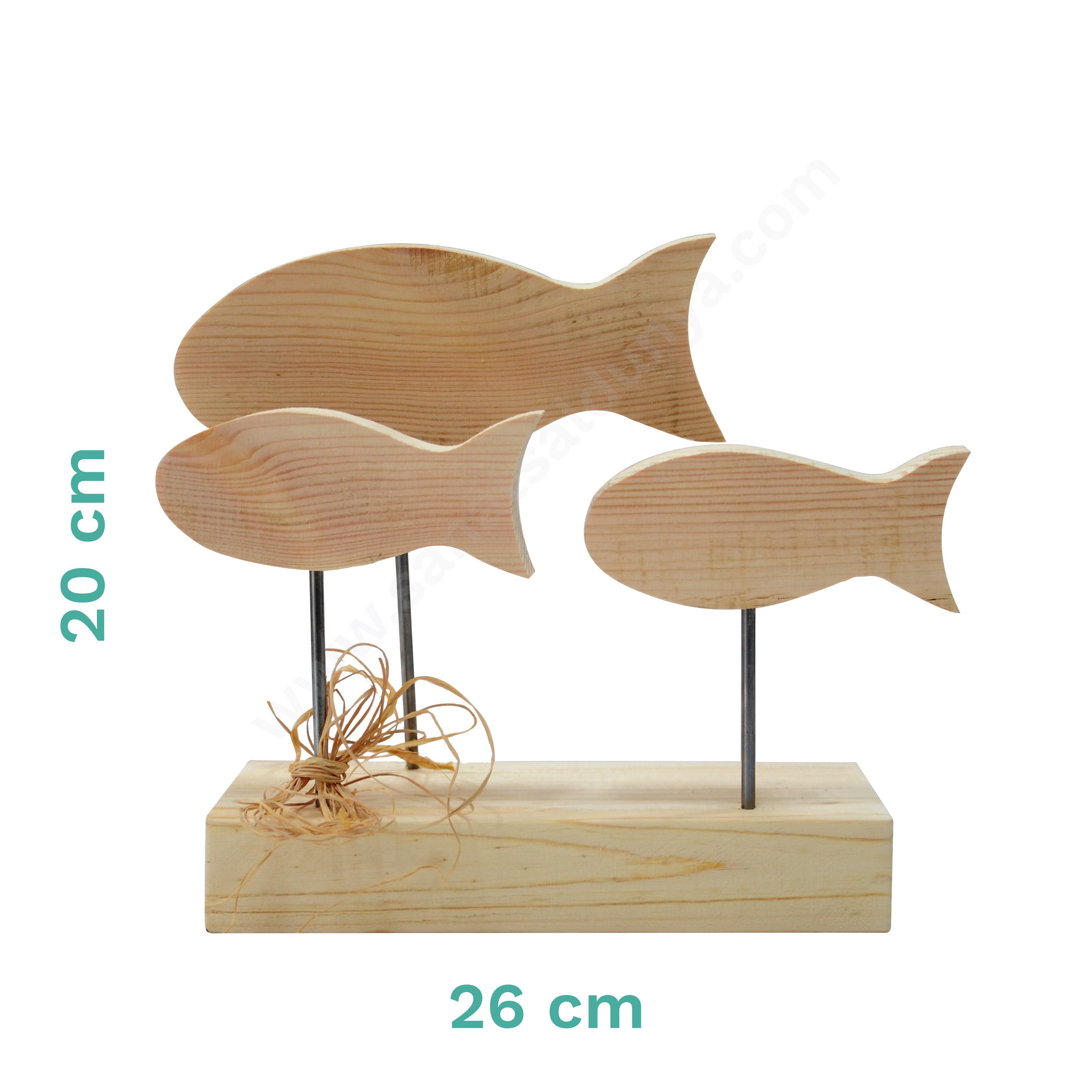 Bizart Ayaklı 3'lü Balık Ahşap Obje