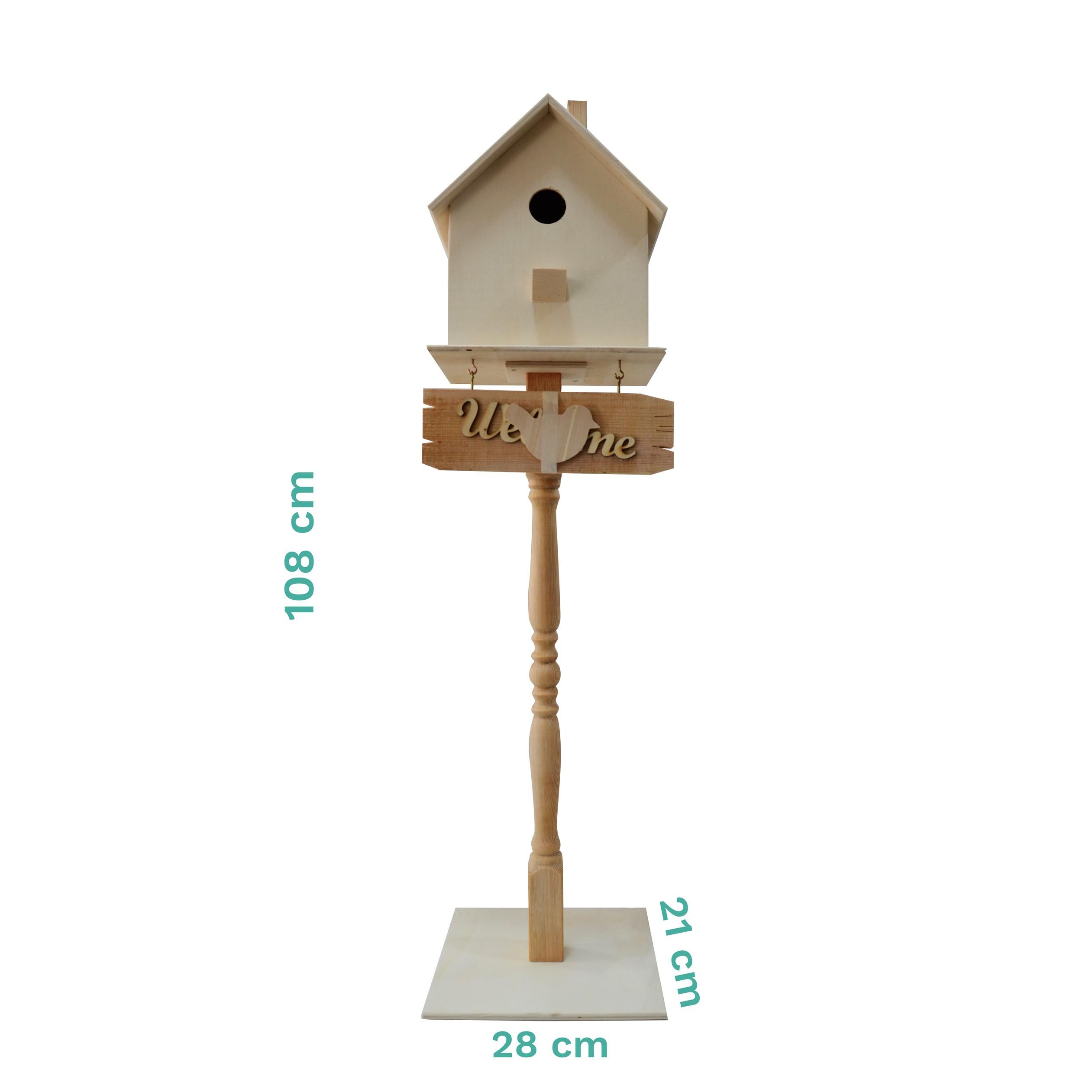 Bizart Ayaklı Kuş Evi Masif Ahşap