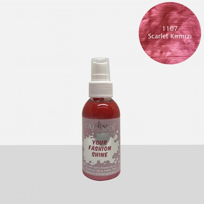 1107 Scarlet Kırmızı Sprey Metalik Kumaş Boyası