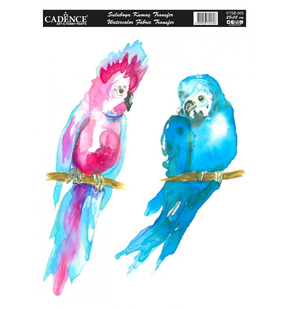 Cadence Sulu Boya Kumaş Transfer 005 Papağan