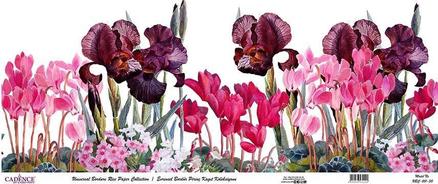 Pembe ve Mor Zambak Çiçek Cadence Duvar Bordür Dekopaj - Duvar Şerit - Sanatsal Hobi Market - UBC001