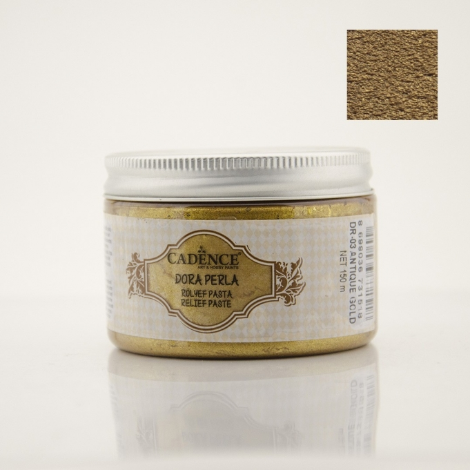 DR03 Antik Altın Dora Perla Rölyef Pasta