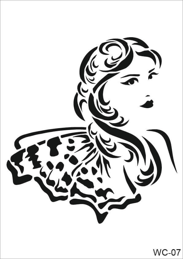Kadın Karakterler Cadence A4 Stencil WC07