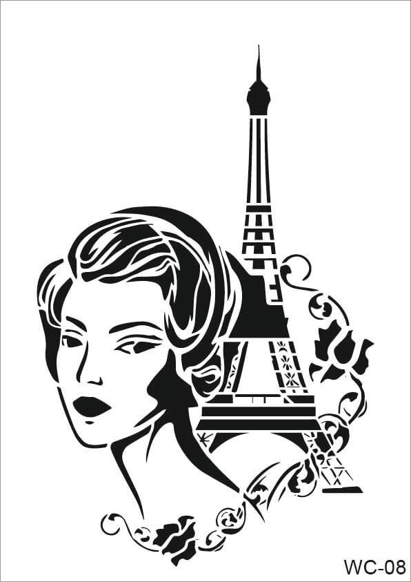 Kadın Karakterler Cadence A4 Stencil WC08