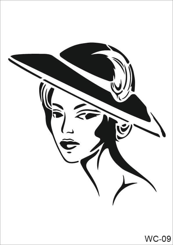 Şapkalı Kadın Model Cadence A4 Stencil WC09