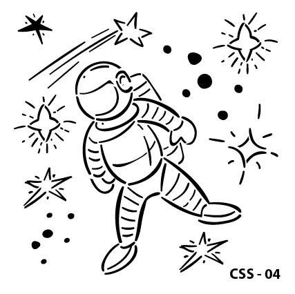 Astronot Çocuk Stencil CSS-04  ( 25 x 25 )