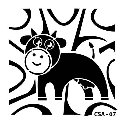 İnek Çocuk Stencil CSA-07  ( 15 x 15 )