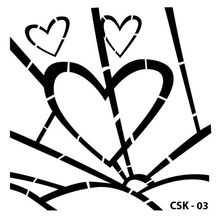 Kalp Çocuk Stencil CSK-03  ( 25 x 25 )