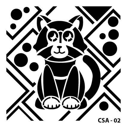 Kedi Çocuk Stencil CSA-02 ( 25 x 25 )