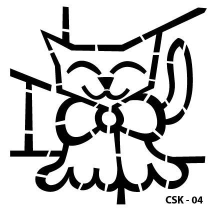 Kedi Çocuk Stencil CSK-04  ( 15 x 15 )