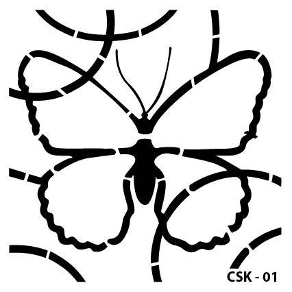 Kelebek Çocuk Stencil CSK-01  ( 15 x 15 )