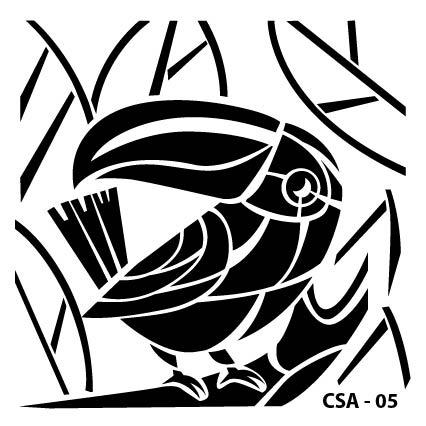 Papağan Çocuk Stencil CSA-05  ( 25 x 25 )