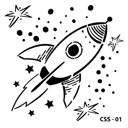 Roket Çocuk Stencil CSS-01  ( 25 x 25 )