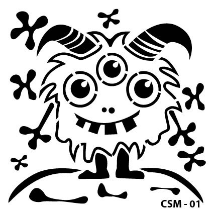Sevimli Canavar Çocuk Stencil CSM-01 ( 25 x 25 )