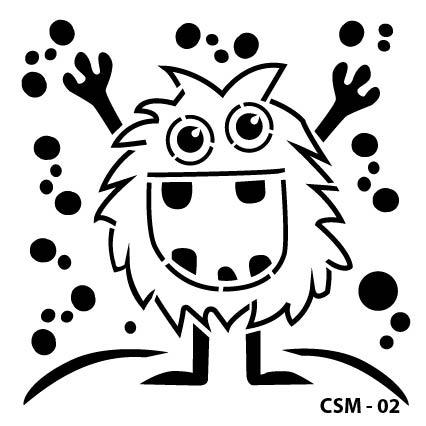 Sevimli Canavar Çocuk Stencil CSM-02 ( 15 x 15 )