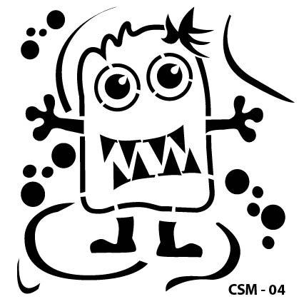 Sevimli Canavar Çocuk Stencil CSM-04 ( 15 x 15 )