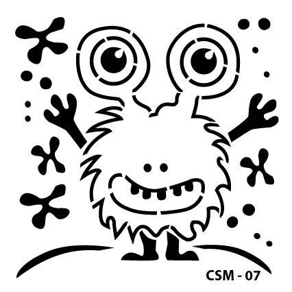 Sevimli Canavar Çocuk Stencil CSM-07 ( 25 x 25 )
