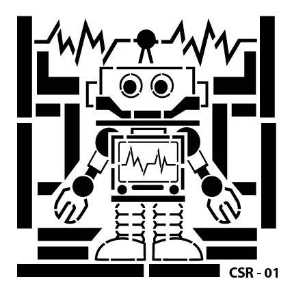 Sevimli Robot Çocuk Stencil CSR-01 ( 15 x 15 )