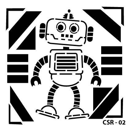 Sevimli Robot Çocuk Stencil CSR-02 ( 25 x 25 )