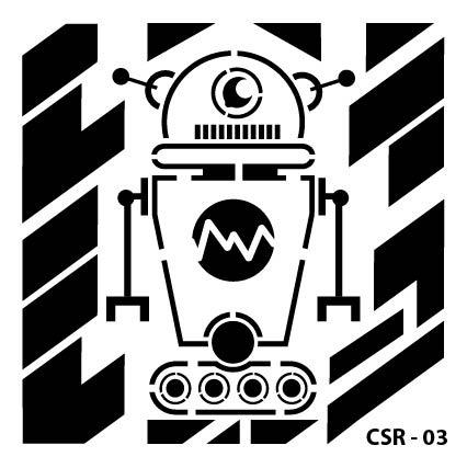 Sevimli Robot Çocuk Stencil CSR-03 ( 15 x 15 )