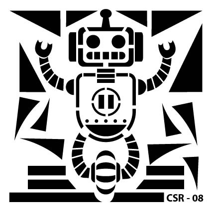 Sevimli Robot Çocuk Stencil CSR-08 ( 15 x 15 )