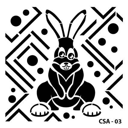 Tavşan Çocuk Stencil CSA-03  ( 25 x 25 )