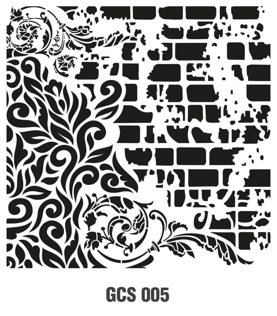 Cadence Grunge Duvar Stencil - GCS005 ( 45 x 45 )