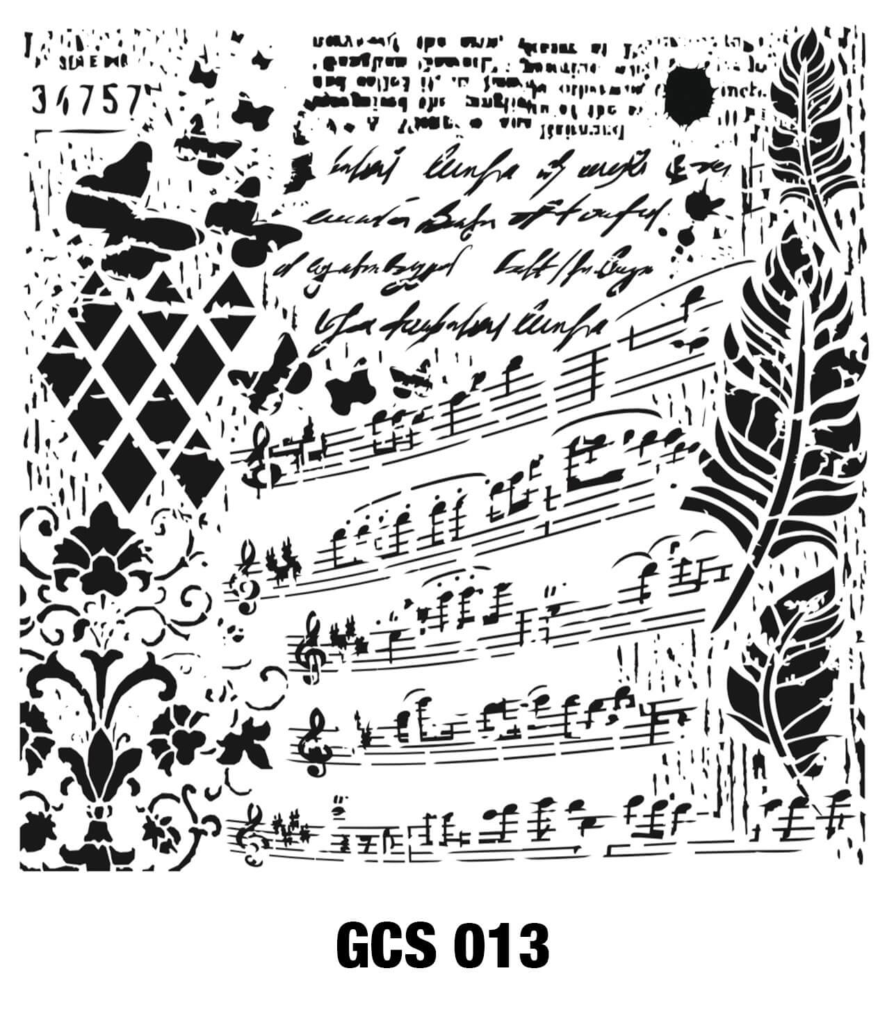Cadence Grunge Duvar Stencil - GCS013 ( 45 x 45 )