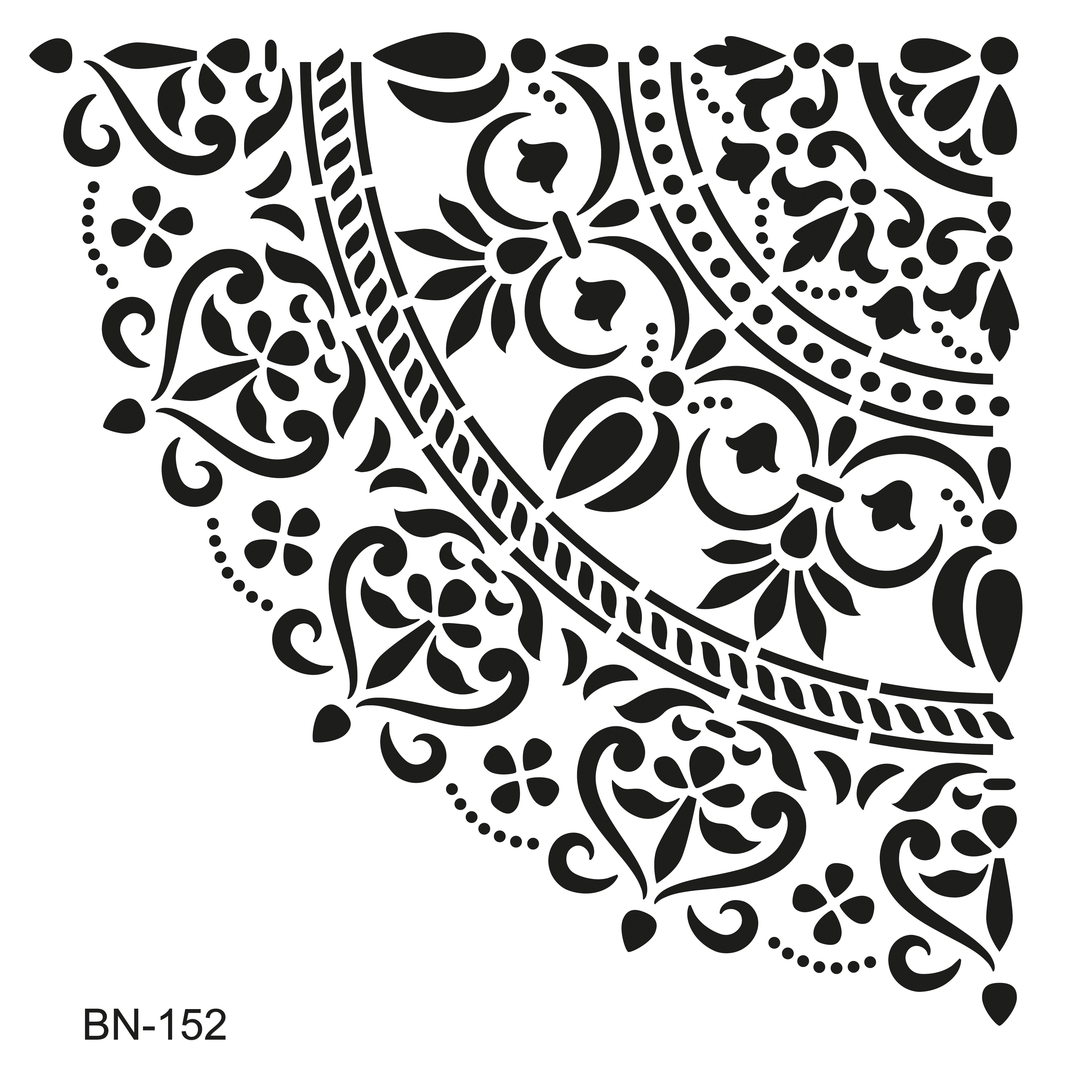 Yarım Damask Desen Stencil OZEL 72 - 25x36cm
