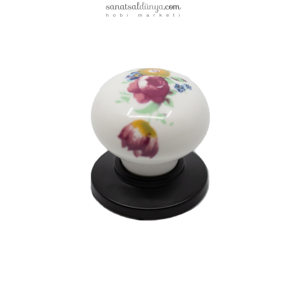 Porselen Çiçekli Düğme Kulp (141)