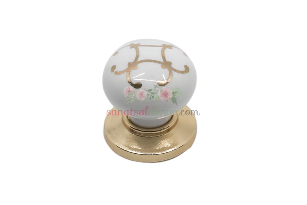 Porselen Yaldız Desen Düğme Kulp | Altın Yaldız | Gold Renk Kulp | Kulphane