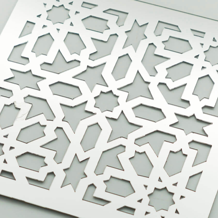 Yıldız Geleneksel Desen Lazer Kesim MDF / Ayna / Gold Pleksi   Yapışkanlı Duvar Panosu