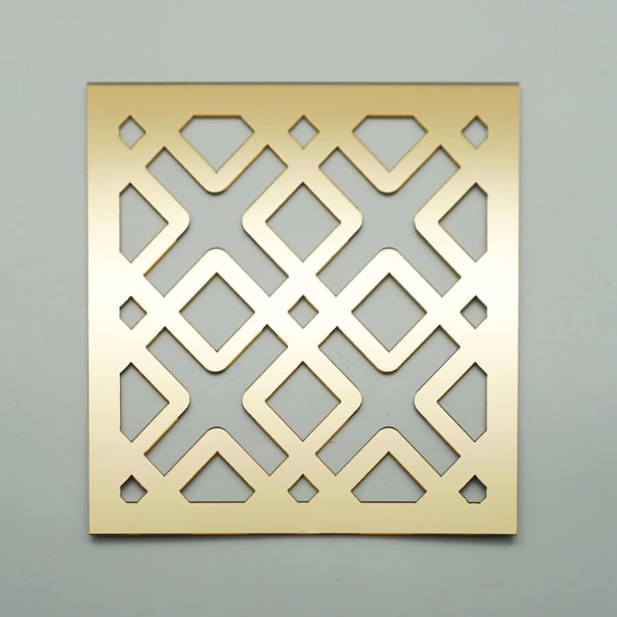 Etnik Geleneksel Desen Lazer Kesim MDF / Ayna / Gold Pleksi   Yapışkanlı Duvar Panosu
