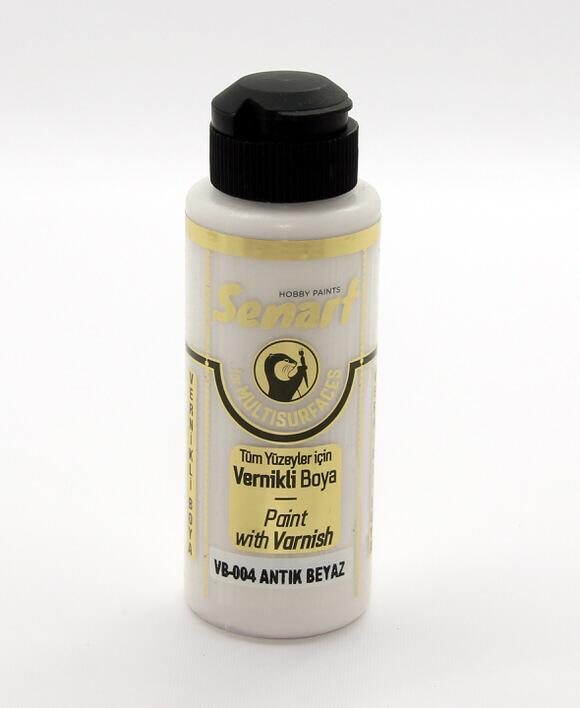 Antik Beyaz Senart Vernikli Boya 120 ML VB004 - akrilik vernikli boya- vernikli-
