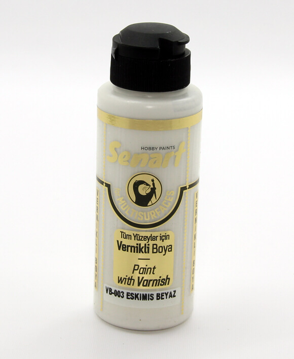 eskimiş Beyaz Senart Vernikli Boya 120 ML VB003- akrilik vernikli boya- vernikli- bir günde ev yenileme