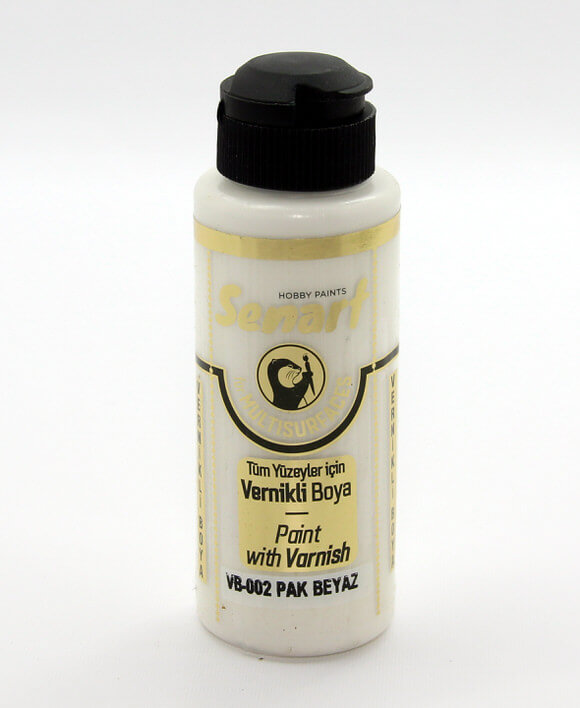 Pak Beyaz Senart Vernikli Boya 120 ML VB002 - akrilik vernikli boya- vernikli-